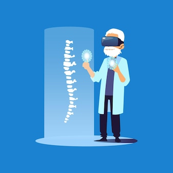 Старый врач в очках vr, исследующих позвоночник человека - мультипликационный медицинский специалист, использующий современные технологии виртуальной реальности медицины, чтобы помочь пациенту.