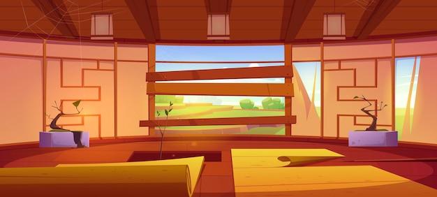 空手と瞑想のための古い道場の伝統的な日本の部屋