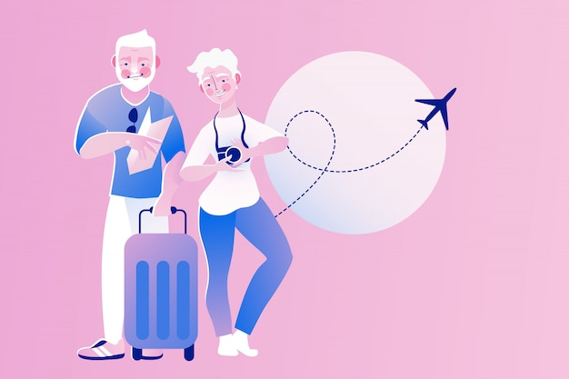 노인, 노인, 노인 커플 여행