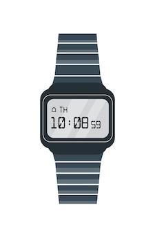 古い電子時計フラットベクトルイラスト。白い背景で隔離のレトロな腕時計。画面に時刻と日付が表示されるトレンディなデジタル時計。タイミング。ストラップ付きのスタイリッシュな時計。