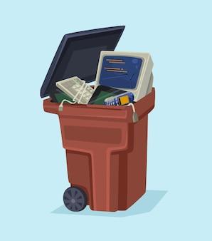 Старый компьютер технологии электроники и телефон в мусорном ведре