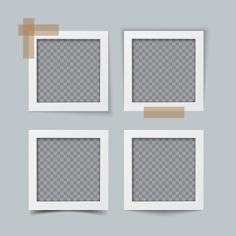 Old empty realistic photo frame set with transparent shadow. border to family album. realistic vector template