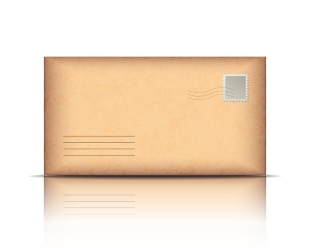 흰색 배경에 오래 된 봉투입니다. 삽화