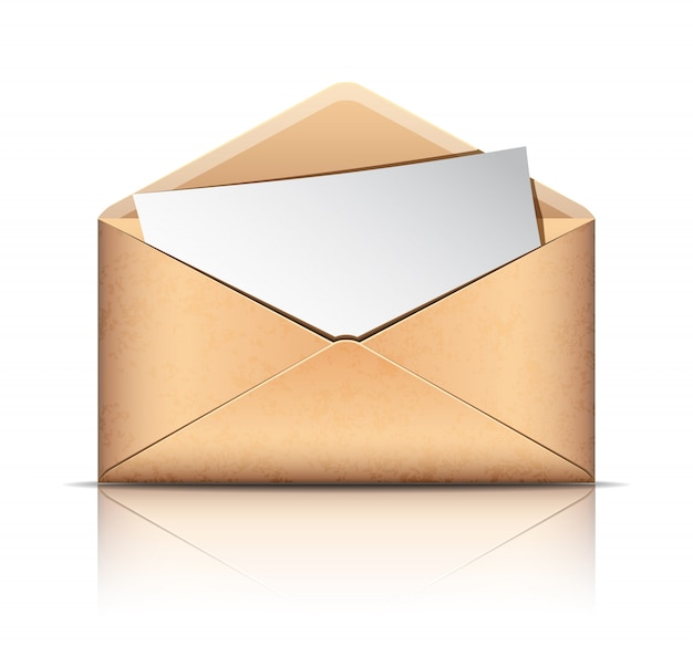 Old envelope with blank paper,  on white background.  illustration