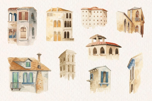 Old european architecture collection in watercolor style