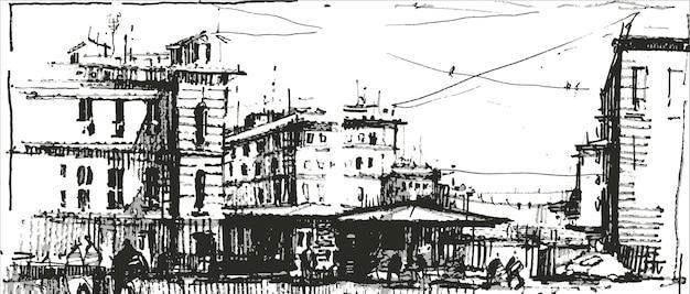 오래 된 유럽 도시 거리 손으로 그려.