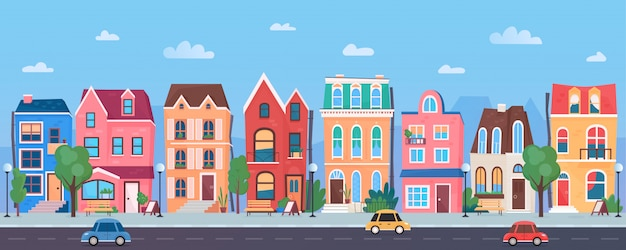 Old european town cartoon illustration panorama. horizontal traditional cityscape from road and cars, street in sunny day. background with blue sky, clouds, trees, funny three storey buildings