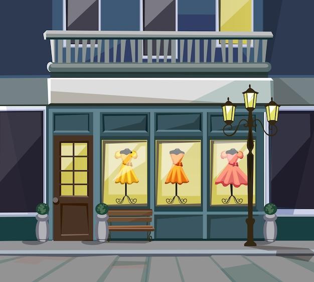 Old europian shop бутик-музей ресторан кафе фронт магазина с большими окнами, местом для имени, зеленью, уличными фонарями и брусчаткой