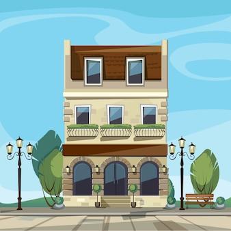 古いヨーロッパショップブティックミュージアムレストランカフェストアフロントには大きな窓、名前の場所、緑、街灯、敷石があります。