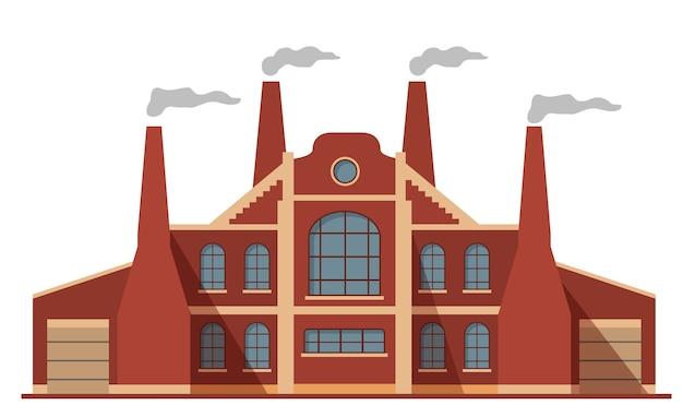 Старый фасад здания завода и дымоходы. загрязнение воздуха. на белом фоне.