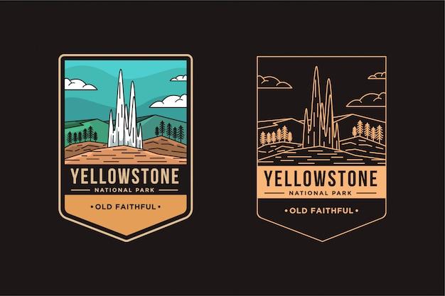 Old faithful geyser of yellowstone national park emblem badge logo illustration