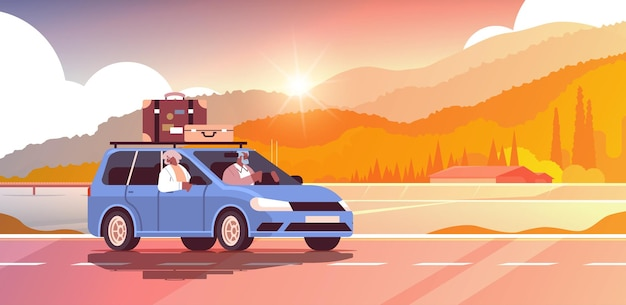 주간 휴가에 차를 운전하는 오래된 가족 수석 아프리카 계 미국인 여행자 부부는 자동차 활성 노년 개념 일몰 풍경 배경 수평 벡터 일러스트 레이 션으로 여행