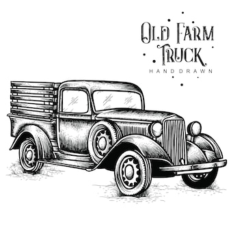 Old farm truck hand drawn