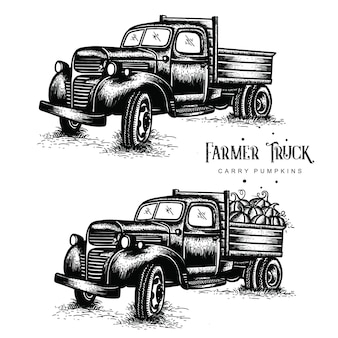 Old farm trucks carry pumpkins