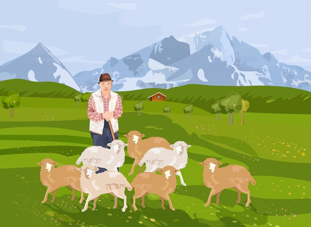 Old farmer sheep and landscape background with mountains Premium Vector
