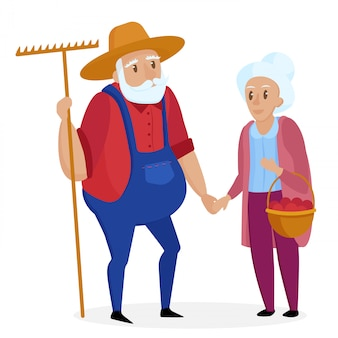 Old farmer with his wife. elderly couple. senior grandpa and grandma standing. vector cartoon illustration.