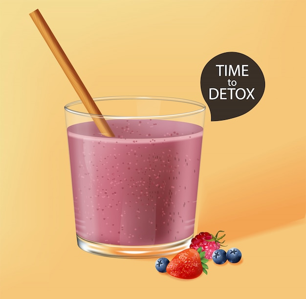 Old fashioned glass with bamboo straw. berry smoothie with strawberry and blueberry decoration. time to detox
