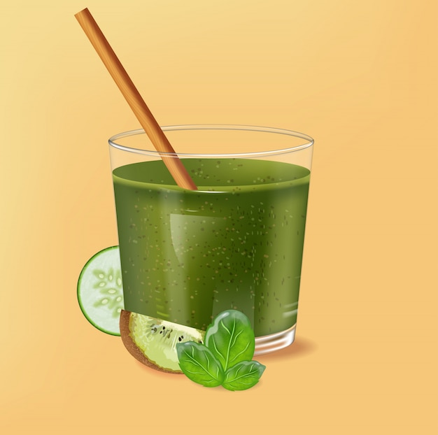 Old fashioned glass with bamboo straw. spinach green smoothie with kiwi, cucumber and lime decoration