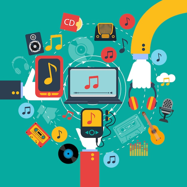Old fashioned retro music apps poster with 3 hands holding tablets and mobile phone