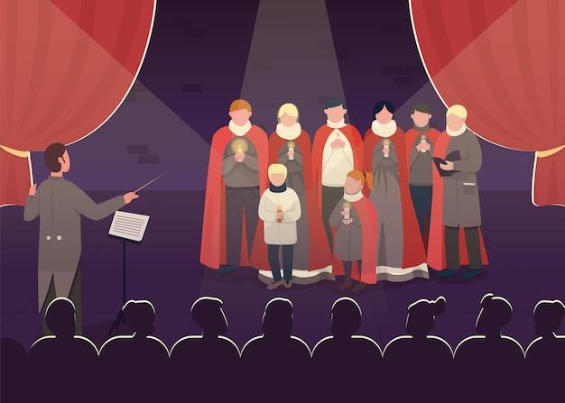 구식 노래 성능 평면 색상. 오페라 쇼를 방문하는 동안 사랑스러운 멜로디. 극장에서 많은 청중을 가진 특별한 합창단 2d 만화 캐릭터