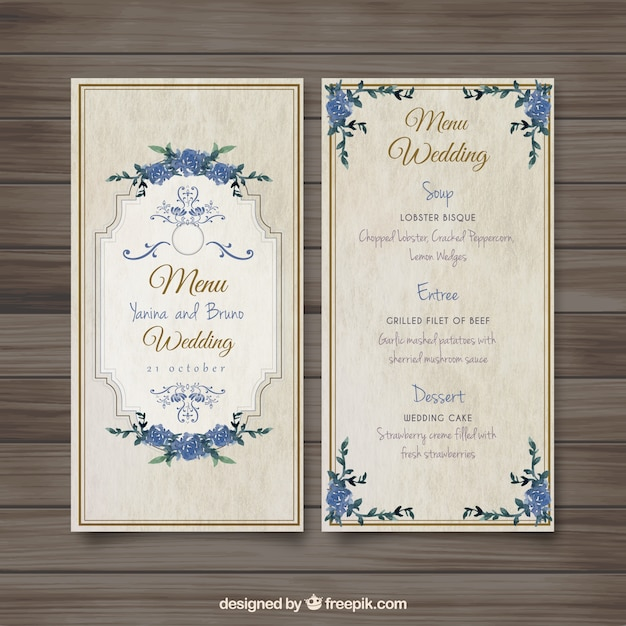 Old fashioned wedding menu