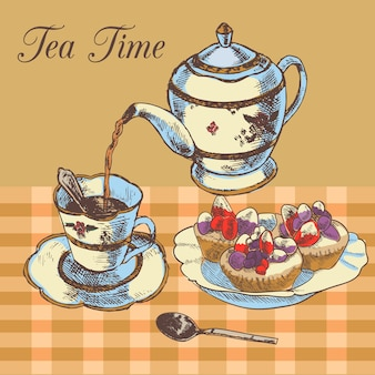 Old-fasioned english tea time restaurant country style poster with traditional teapot and cupcakes dessert vector illustration