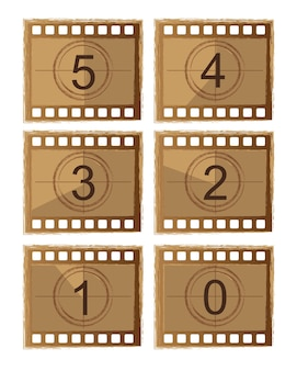 Old film countdown isolated over white background vector