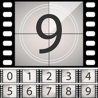 Old film movie countdown frame. vintage retro cinema timer count.