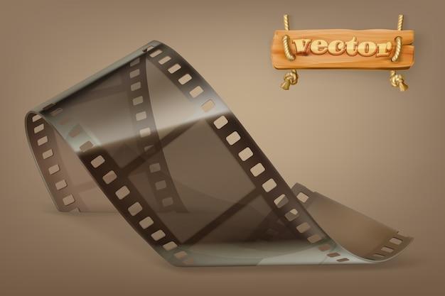 透明イラストと古いフィルムストリップ