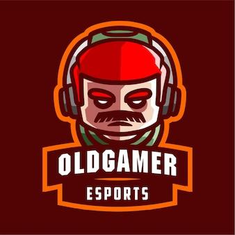 Old gamer mascot gaming logo