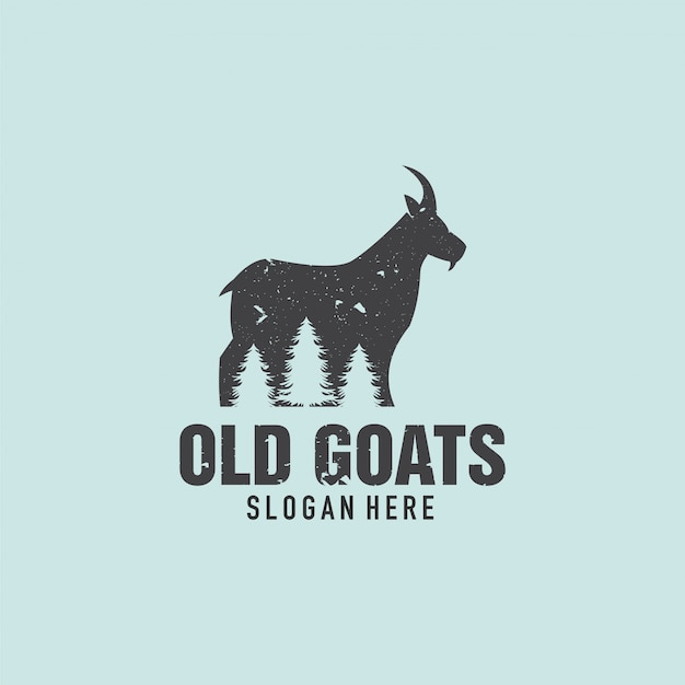 Old goat and pine tree logo