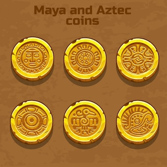 Old gold aztec and maya coins, game element