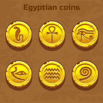 Old gold egyptian coins, game element