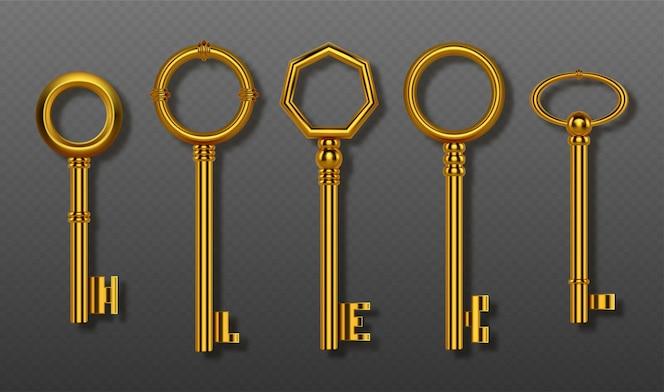 古い金の鍵のコレクションのクリッピングパスロックハウスのドアや宝物のためのヴィンテージの装飾的な金の鍵の現実的なセット秘密のセキュリティとプライバシーの分離された光沢のあるシンボル