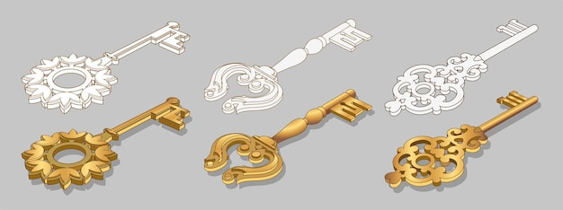 Old gold keys collection isolated illustration