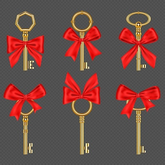 Old gold keys with tied red bow isolated on transparent