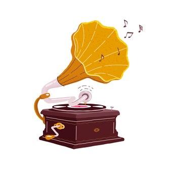 Старый граммофон, изолированные на белом