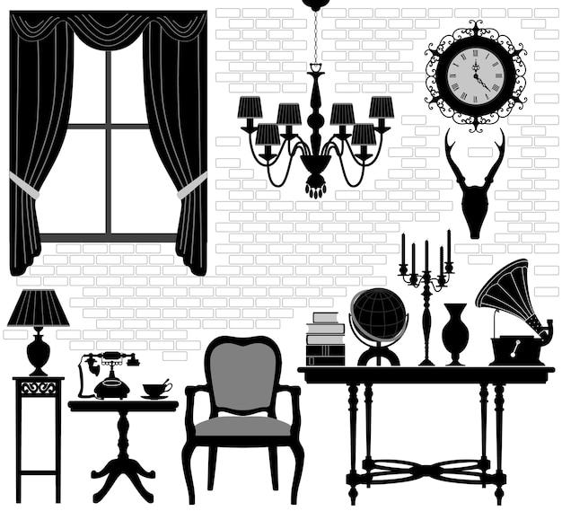 Старая комната дедушки антикварная ретро мебель для гостиной.