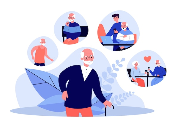 그의 일상에 대해 생각하는 늙은 할아버지. 스포츠, 가족, 날짜 그림. 배너, 웹 사이트 또는 방문 웹 페이지에 대한 라이프 스타일 및 은퇴 개념