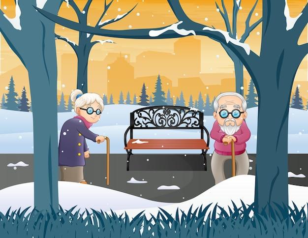 겨울 공원 그림에서 오래 된 조부모