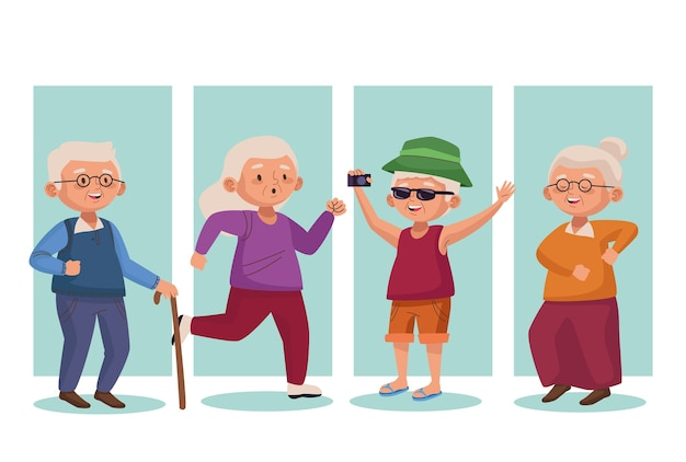 Old group people active seniors characters