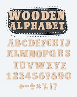 Old grunge wooden alphabet,  set with all letters, ready for your text message, title or logos