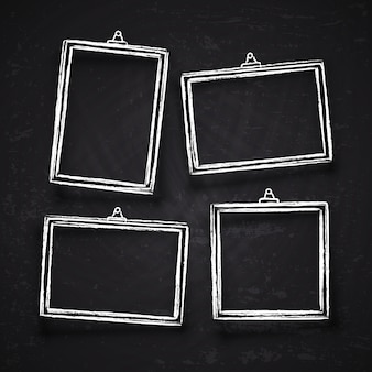 Old hand drawn chalk photo frames, white vintage image borders with shadows isolated on blackboard vector set. chalk frame on blackboard, drawing framework for menu illustration