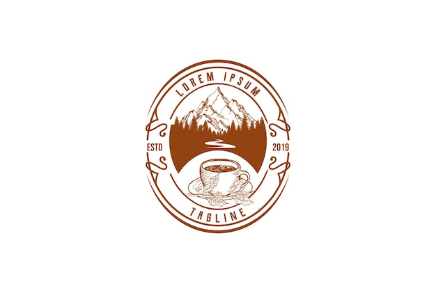 Old hipster mountain pine forest with river creek and coffee cup badge emblem label logo design vector