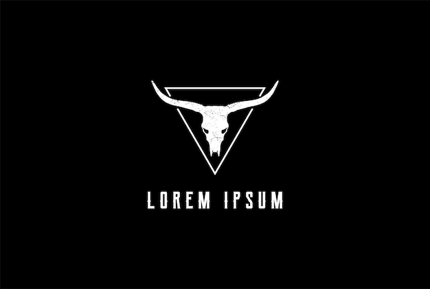 Old hipster texas bison buffalo bull longhorn skeleton logo design vector