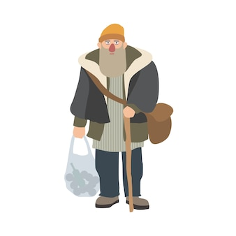 Old homeless man with beard and cane standing and holding plastic bag. elderly bum, vagabond or hobo dressed in shabby clothes. cartoon character isolated. vector illustration.