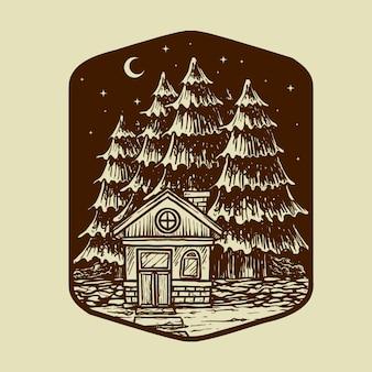 古い家と夜の景観図の木