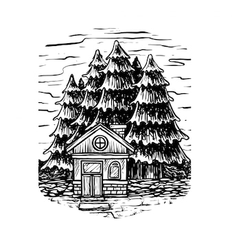 古い家と夜景イラストの木