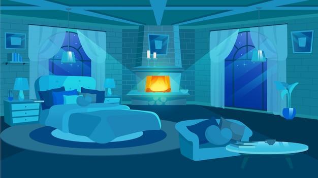 Старый интерьер спальни дома на иллюстрации ночи. огромная кровать возле панорамного окна. мультяшный камин, диван и журнальный столик в просторной пустой комнате. античные кирпичные стены с росписью