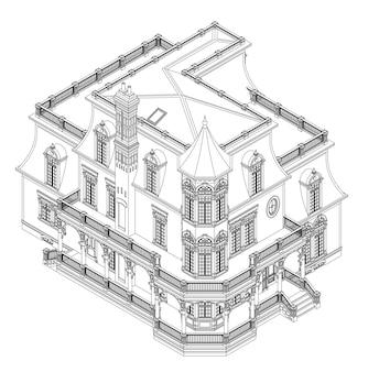 빅토리아 스타일의 오래된 집. 흰색 배경에 그림입니다. 등고선에 흑백 그림입니다. 다른 측면에서 종.